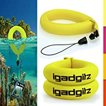 iGadgitz 2 Pack Neon Yellow Waterproof Floating Wrist Strap suitable for use with Fujifilm FinePix XP Series Tough XP10, XP20, XP30, XP50, XP51, XP60 & XP80 Cameras