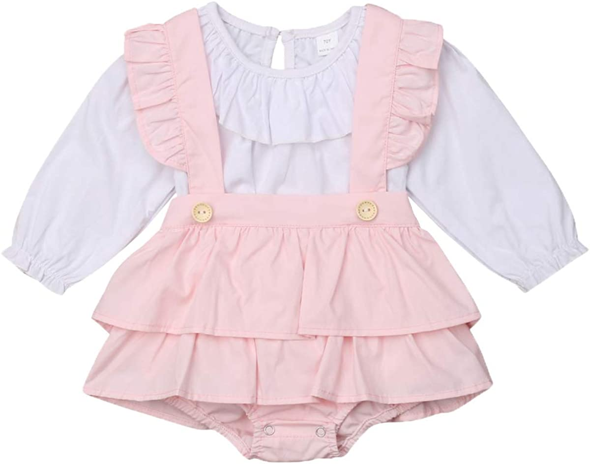 Newborn Baby Girl Doll Collar Ruffle Blouse Top Suspender Tutu Romper Skirt Overalls Outfit