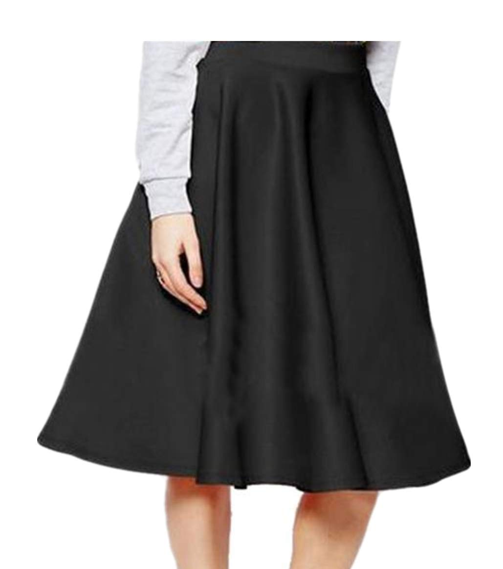 MISYAA Womens Skirts Vintage Skirt High Waisted Pleated Swing Mid-Calf Skirts Tulle Dance Dresses Red/Black