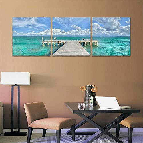 CrmaOArt-3 패널 풍경 그림 벽 아트-블루 오션-캔버스 아트 장식-30x30cm / CrmaOArt - 3 Panel Landscape Painting Wall Art - Blue Ocean - Canvas Art Home Interior - 30x30cm