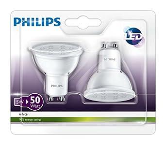 philips 3000 k 36d gu10 led spot light bulbs 5 w 50w white pack of 2 lighting. Black Bedroom Furniture Sets. Home Design Ideas
