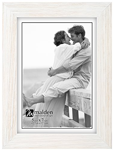 Malden International Designs Linear Rustic Wood Picture Frame, 5x7, Rough - White Vintage Frame