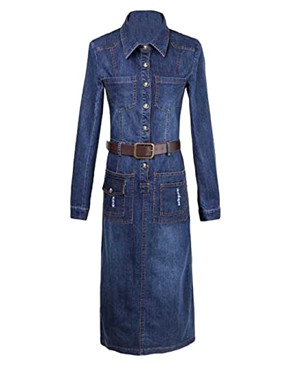 Guiran Robe Jean Femme Rétro Denim Robe Manches Longues Denim Tunique  Longue Robe