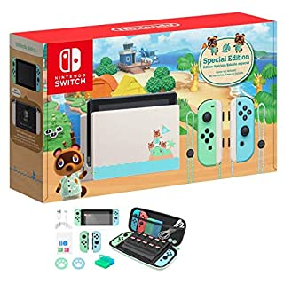"""2020 Newest Nintendo Switch with Green and Blue Joy-Con - Animal Crossing: New Horizons Edition - 6.2"""" Touchscreen LCD Display - Green and Blue - Hubxcel 12-in-1 Holiday Carrying Case"""