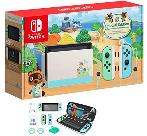 "2020 Newest Nintendo Switch with Green and Blue Joy-Con - Animal Crossing: New Horizons Edition - 6.2"" Touchscreen LCD Display - Green and Blue - Hubxcel 12-in-1 Holiday Carrying Case"