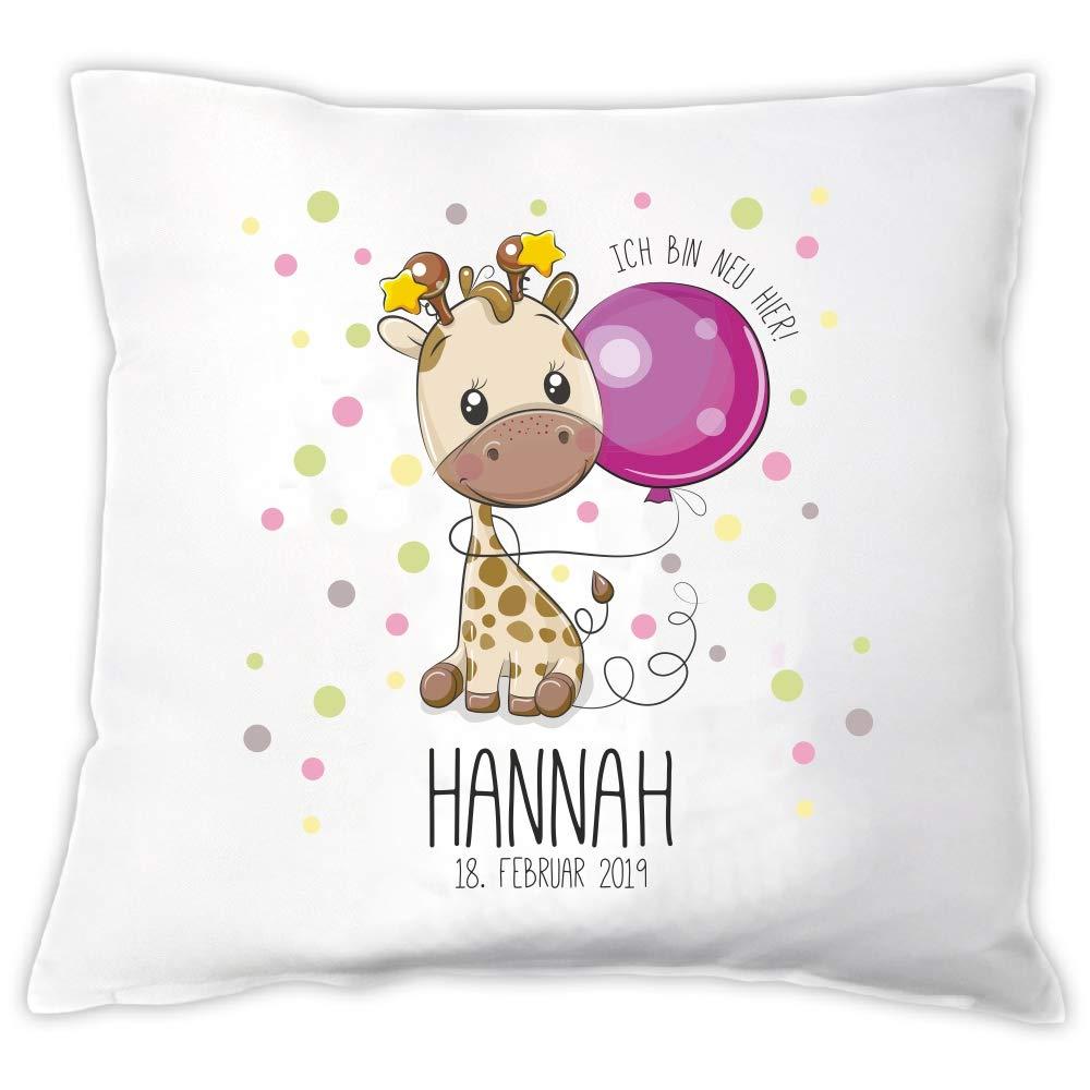 Geburtsdatum /& Motiv☆ ☆B/är ☆Eule ☆Giraffe ☆Einhorn Geschenk ☆mit Namen Baby Kissen zur GeburtIch bin neu hier Giraffe
