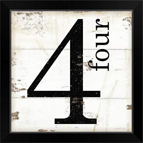 """CANVAS ON DEMAND Farmhouse Four 4"""" Black Framed Art Print, 19""""x19""""x1"""""""