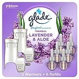 Glade PlugIns Refills Air Freshener Starter Kit, Scented Oil for Home and Bathroom, Lavender & Aloe, 2 Warmers + 6 Refills