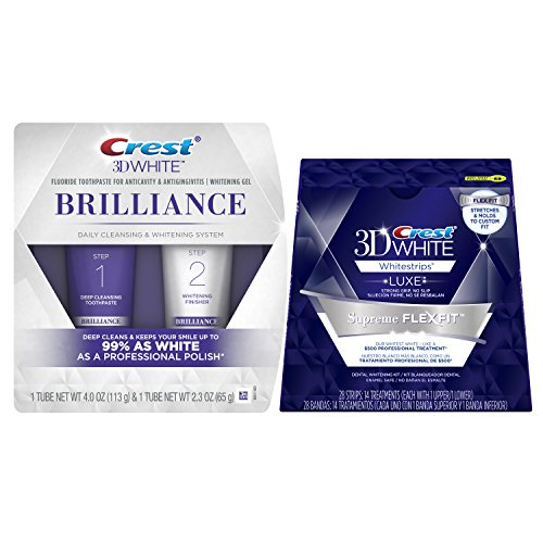 Crest 3D White Brilliance Daily Cleansing Toothpaste and Whitening Gel System, 2.3 oz & Crest 3D Luxe Whitestrips Supreme Flexfit Teeth Whitening Kit, 14 Count Bundle - Crest Whitestrips Dental Whitening System