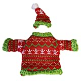 Green and Red Jolly Christmas Sweater Wine Snuggler - By Ganz