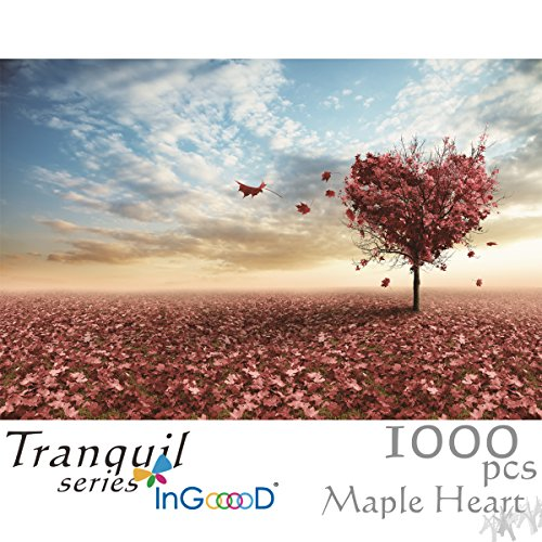 Ingooood Jigsaw Puzzles 1000 Pieces- Tranquil Series Maple Leaves Heart- for -