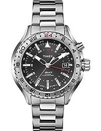 Timex Intelligent Quartz T2P424 Mens Intelligent Quartz 3GMT Silver Steel Bracelet Watch