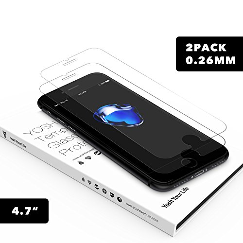 Price comparison product image [2-pack] 0.26MM Thickness Thinnest iPhone 7 Glass Screen Protector,YOSH iPhone 6 6s 7 Screen Protector (4.7 inch) 9H Hardness and Easy Bubble-Free Installation 3D Touch Compatible Anti-Fingerprints