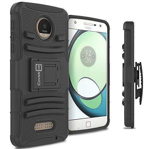 Moto Z Play Droid Phone Case, Moto Z Play Case, CoverON [Explorer Series] Holster Hybrid Armor Belt Clip Hard Phone Cover For Motorola Moto Z Play Droid / Z Play Holster Case - Black