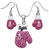 Pink Ribbon Breast Cancer Awareness Boxing Glove Necklace Earrings Set