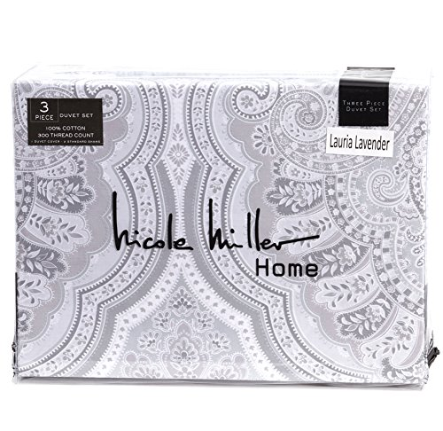 Nicole Miller 3pc King or Full Queen Duvet Cover Set White Scroll Paisley Moroccan Medallion Damask Bohemian Pattern Grey Silver Gray White (Full/Queen) (Crate Barrel Duvet)