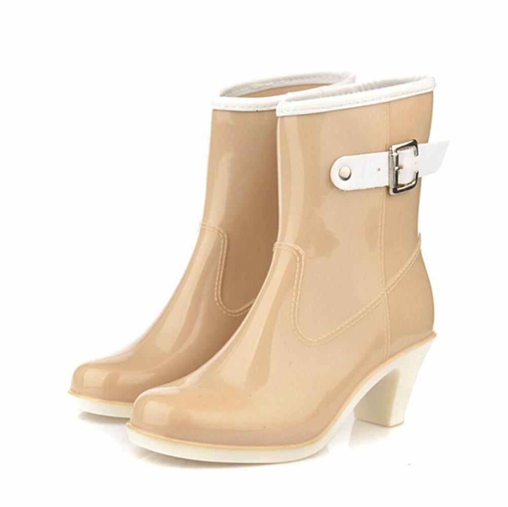 SIHUINIANHUA High Heel Regen Regen Regen Stiefel Damen Abschnitt Schnalle in der Röhre Regen Stiefel Gummischuhe Wasser Schuhe beige 38 a7c8c0