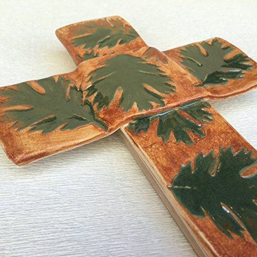 JANECKA Green Leaf Cross, Free Form Pottery, 7 x 11 inches Wall Mount Cross