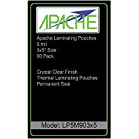 """Apache Laminating Pouches, 5 mil, 3x5"""" Size, 90 Pack"""