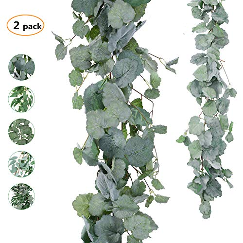 Begonia Leaves - TOPHOUSE 2 Pack Artificial Hanging Leaves Vines 5.6 Feet Fake Begonia Leaves Plant Leaves Garland for Indoor Outdoor Wedding Decor Greenery Wreath. (Gray Begonia Leaves Garland)