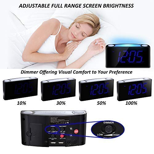 Alarm Clock with Bed Shaker for Heavy Sleepers, Digital Clock with 7'' Large Display, 0-100% Dimmer, 7-Color Night Light, Dual USB Ports, Adjustable Alarm Sound,12/24 H, Easy-to-Use, Battery Backup