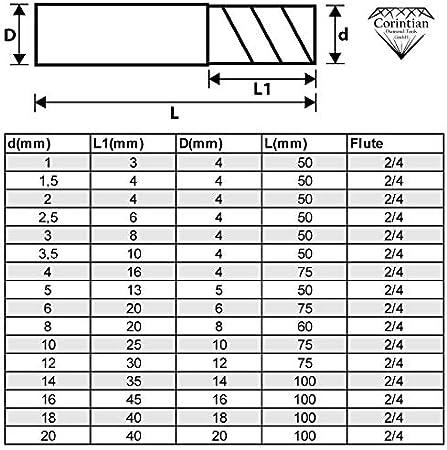 Corintian Fraise 4 dents Carbure monobloc coupe haute performance HPC /Ø 8mm rev/êtement AlTiN
