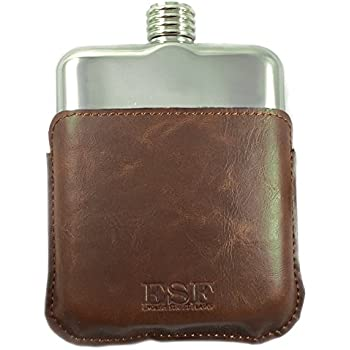 English Street Flasks' Signature 6oz Flask in Leather Holster