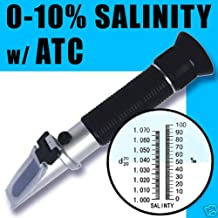 Automatic Temperature Compensation Sea Water Salt Salinity Refractometer for Aquarium, 0% - 10% & 1.0 to 1.070 S.g. Dual Scale Hydrometer By Adeadvancedoptics