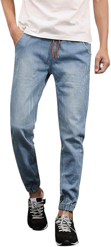 HCFKJ Moda para Hombres Bolsillo con Correa Casual Pantalones De ...