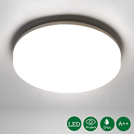 Öuesen Lámpara de techo LED, plafon led de techo superficie,1650 lúmenes, Color Blanco frío, 5000K,18W equivalente a 100W,IP44 resistente al agua, ...
