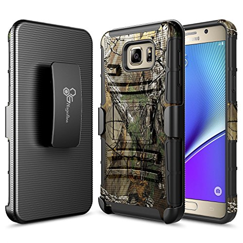 NageBee Belt Clip Holster Case Compatible with Samsung Galaxy Note 5 [Heavy Duty] Armor Shock Proof Dual Layer [Swivel Belt Clip] Holster with [Kickstand] Combo Rugged Case - Camouflage