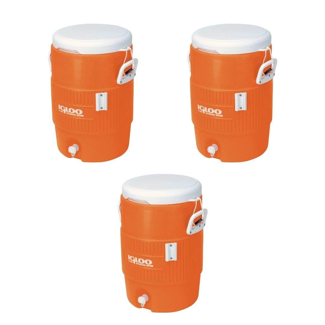 Igloo 5 Gallon Seat Top Beverage Jug with Spigot (Orange, 3 Pack)