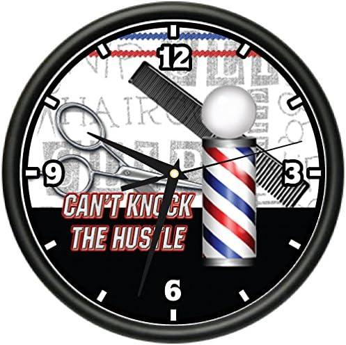 Barber Cant Knock The Hustle Wall Clock Hair Salon Stylist Shop Gift