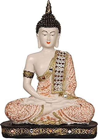 HEERAN Art Polyresin Sitting Buddha 24 cm Copper and White Idols & Figurines at amazon