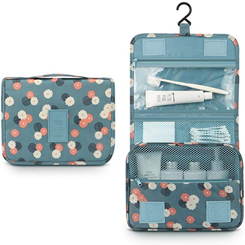 (Mossio Hanging Toiletry Bag - Large Cosmetic Makeup Travel Organizer for Men & Women with Sturdy Hook Blue Flowers)