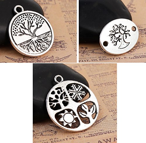 Tree of Life Charms, Pendants and Connectors 60 Pack (20 of Each)