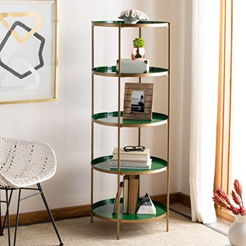 Safavieh Home Tia Contemporary Hunter Green and Brass Round 5-tier Etagere