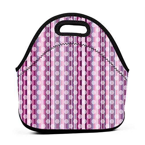 Neoprene Lunch Bag Polka Dot,Vertical Stripes in Color Shades with Faded Big Polka Dots Pattern Retro Style,Multicolor,paw patrol lunch bag for boys ()