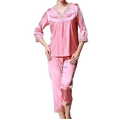Damen Kunstseide Spitze Hose Satin Hosen Nachtwäsche Pyjamahose Nachtwäsche