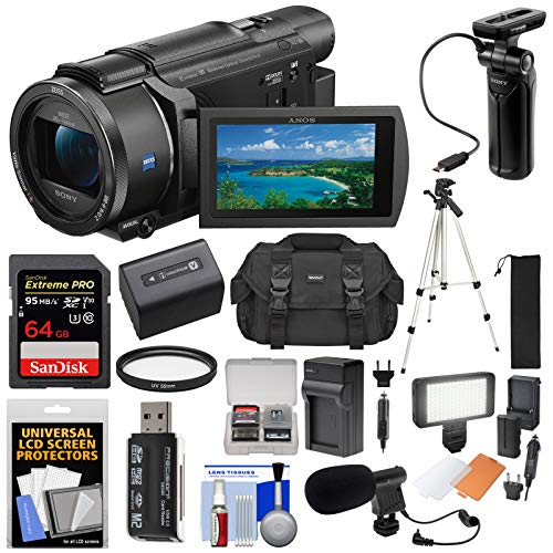 Sony Handycam FDR-AX53 Wi-Fi 4K Ultra HD Video Camera Camcorder & GP-VPT1 Grip + 64GB Card + Tripod + Battery & Charger + LED Light + Mic + Case Kit