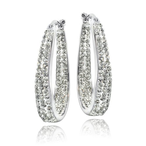 Silver Tone Crystal Inside-Out Oval Hoop Earrings