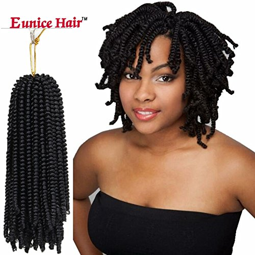 6 Packs Eunice Hair Black Spring Twist Crochet Braids Bouncy Curly Nubian Twist Hair Extensions 8 Inch Synthetic Kinky Curly (#1B)