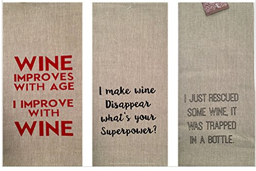 Set of 3 Linen Wine Kitchen Towels - Wine Lovers Gifts Set Comes in Organza Gift Bag