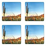 Ambesonne Saguaro Coaster Set of Four, Sun Goes Down in Desert Prickly Pear Cactus Southwest Texas National Park, Square Hardboard Gloss Coasters for Drinks, Orange Blue Green