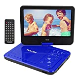TENKER  10.5'' Portable Dvd Player With Swivel Screen, 3 Hours Rechargeable Battery With Sd Card Slot And Usb Port, Blue