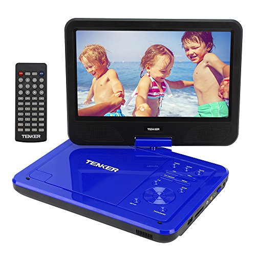 TENKER  10.5'' Portable Dvd Player With Swivel Screen, 3 Hours Rechargeable Battery With Sd Card Slot And Usb Port, Blue by TENKER