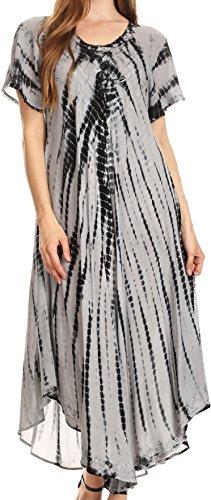 Buy black and grey tie dye dress - 2