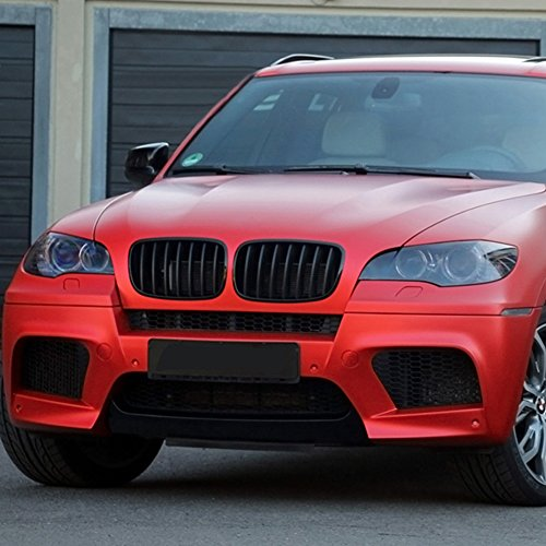 Astra-Depot Left Right Front Kidney Grille Grill Compatible with 2007-2013 BMW X5 X6 E70 E71 Dual Slats Glossy Black M-Color