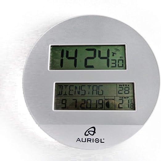 auriol - Reloj de Pared controlado por Radio (Pantalla LCD, Reloj ...