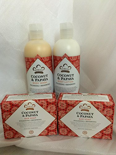 Coconut Papaya Soap, Lotion Body Wash Set.. by Nubian Heritage 4 Pack … iwgl